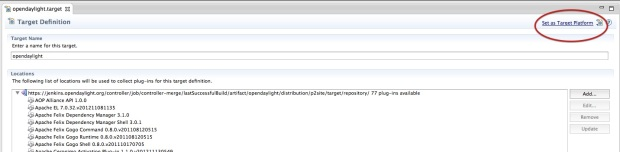 Setting up the 'target' for OpenDaylight Controller in Eclipse.